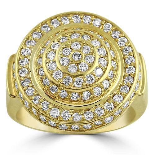 10K Solid Yellow Gold Mens Diamond Pinky Ring 1.50 Ctw