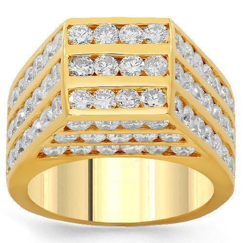 10K Solid Yellow Gold Mens Diamond Pinky Ring 8.00 Ctw