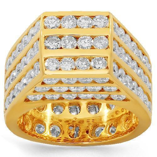 10K Solid Yellow Gold Mens Diamond Pinky Ring 9.00 Ctw