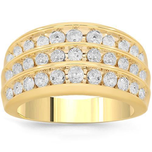 10K Solid Yellow Gold Mens Diamond Wedding Ring Band 1.10 Ctw