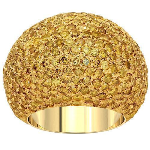 10K Solid Yellow Gold Mens Yellow Diamond Pinky Ring 9.54  Ctw
