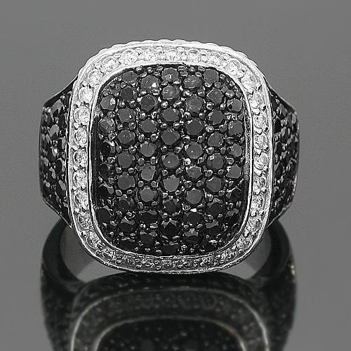 10K White Solid Gold Mens Diamond Ring with Black Diamonds 6.50 Ctw