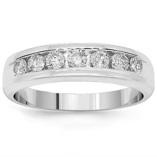 10K White Solid Gold Mens Diamond Wedding Ring Band 1.30 Ctw