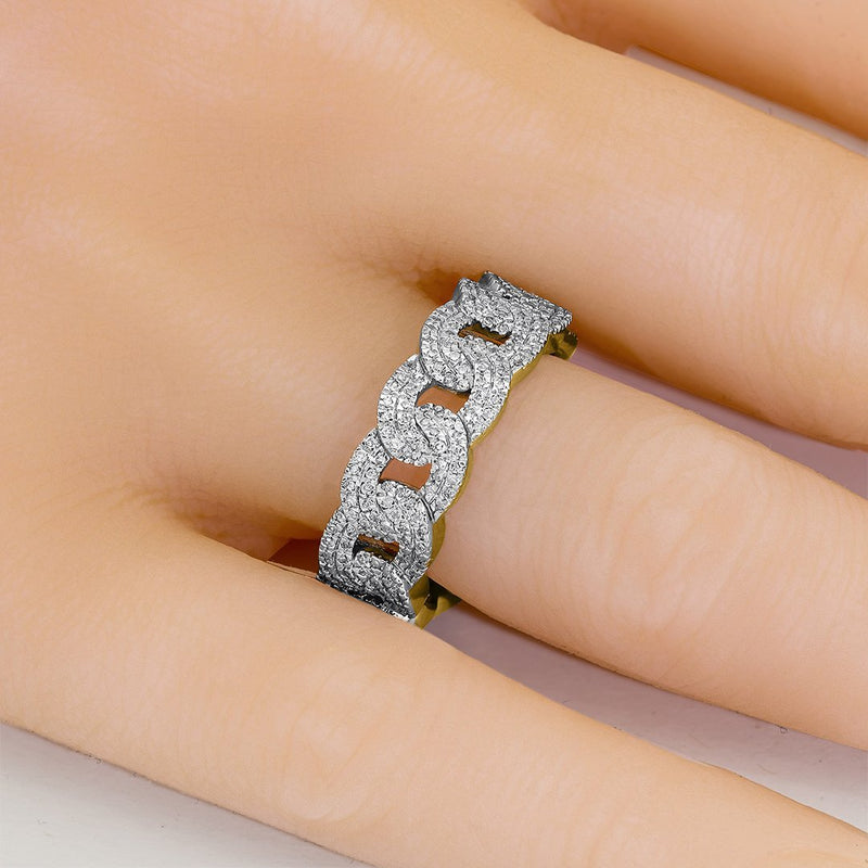 10K YELLOW GOLD DIAMOND CUBAN LINK RING 0.77 CTW
