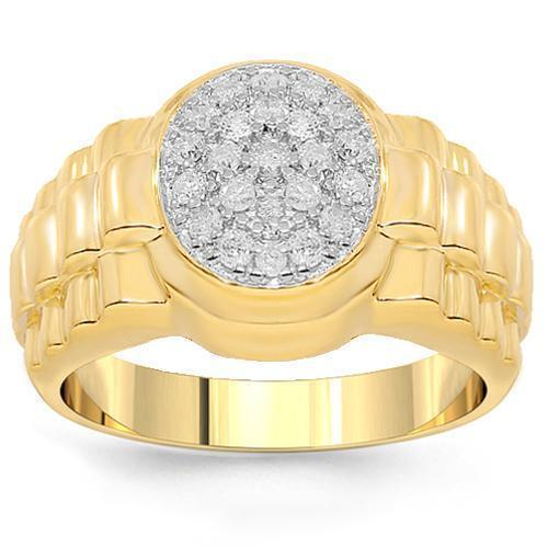 10K Yellow Gold Mens Diamond Pinky Ring 0.75 Ctw