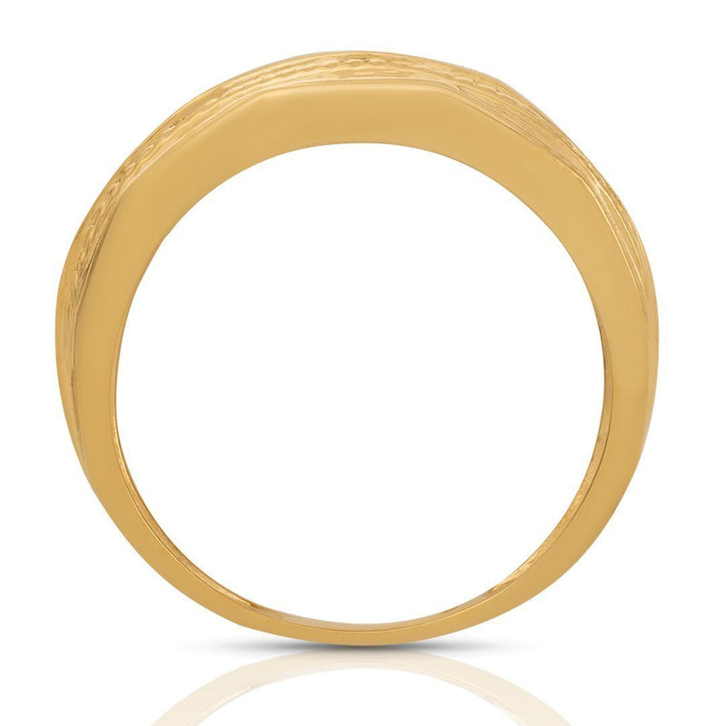 10K Yellow Gold Mens Diamond Wedding Band 0.25 Ctw