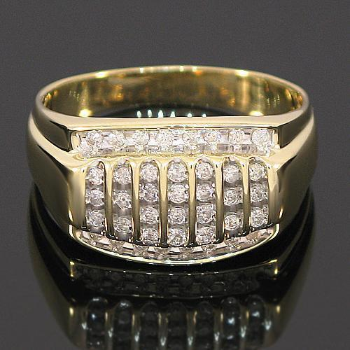10K Yellow Solid Gold Channel Mens Diamond Ring 0.50 Ctw