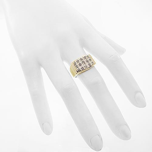 10K Yellow Solid Gold Mens Diamond Pinky Ring 0.59 Ctw