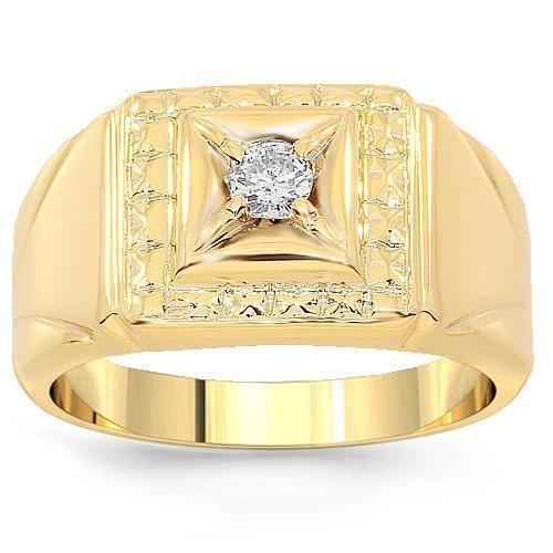 10K Yellow Solid Gold Mens Diamond Solitaire Pinky Ring 0.13 Ctw