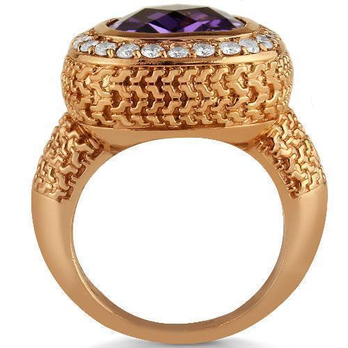 14K Rose Solid Gold Diamond Mens Purple Amethyst Ring 4.70 Ctw