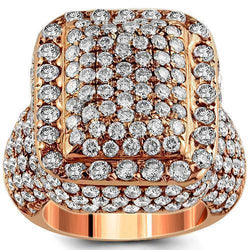 14K Rose Solid Gold Diamond Mens Ring 7.62 Ctw