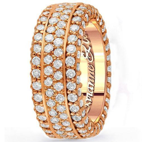 14K Rose Solid Gold Mens Diamond Wedding Ring Band 5.11 Ctw