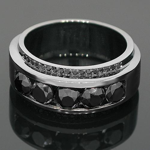 14K Solid Gold Black Rhodium Plated Mens Diamond Ring with Black Diamonds 3.50 Ctw