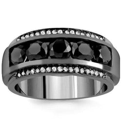 80cf34fa35e 14K Solid Gold Black Rhodium Plated Mens Diamond Ring with White and B –  Avianne Jewelers