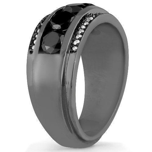14K Solid Gold Black Rhodium Plated Mens Diamond Ring with White and Black Diamonds 3.50  Ctw