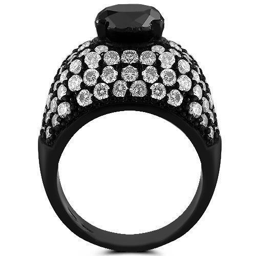 14K Solid Gold Black Rhodium Plated Mens Ring with Black and White Diamonds 8.75 Ctw