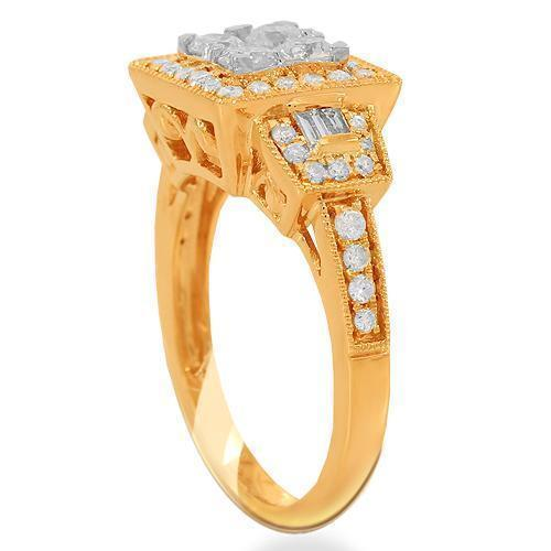 14K Solid Rose Gold Womens Diamond Cocktail Ring 1.08 Ctw