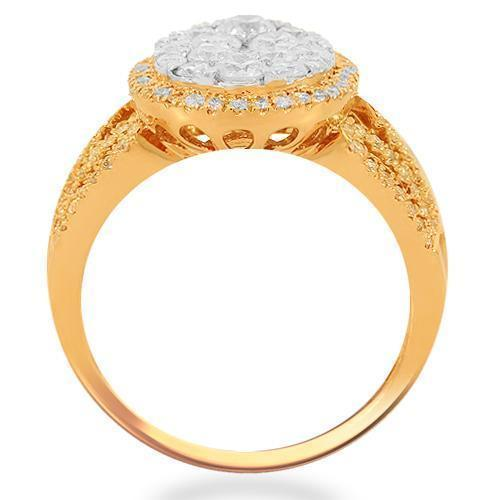 14K Solid Rose Gold Womens Diamond Cocktail Ring 1.35 Ctw