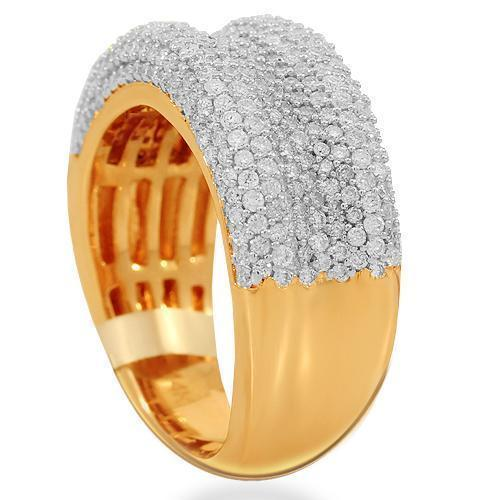 14K Solid Rose Gold Womens Diamond Cocktail Ring 1.45 Ctw