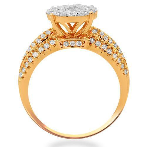 14K Solid Rose Gold Womens Diamond Cocktail Ring 1.49 Ctw