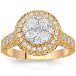 14K Solid Rose Gold Womens Diamond Cocktail Ring 1.85 Ctw