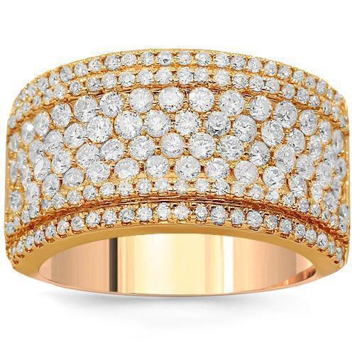 14K Solid Rose Gold Womens Diamond Cocktail Ring 1.92 Ctw