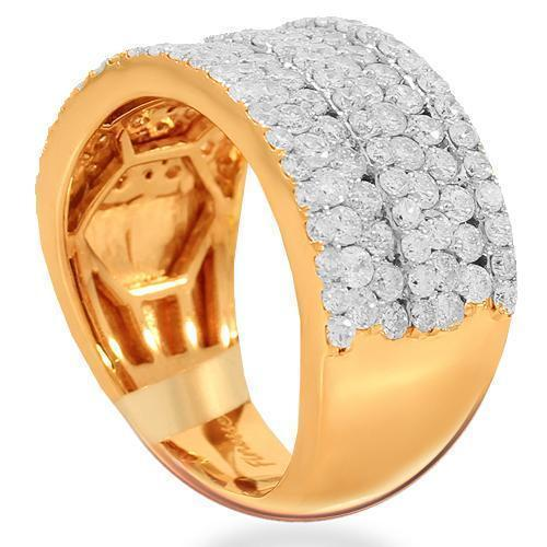 14K Solid Rose Gold Womens Diamond Cocktail Ring 2.08 Ctw