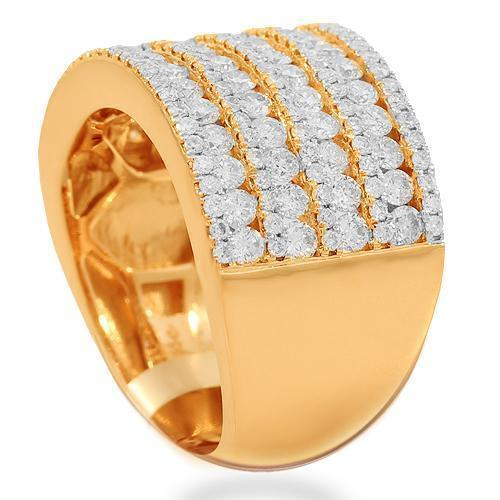 14K Solid Rose Gold Womens Diamond Cocktail Ring 2.10 Ctw