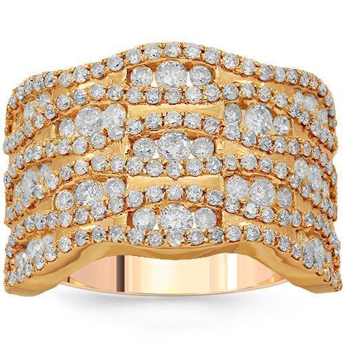 14K Solid Rose Gold Womens Diamond Cocktail Ring 2.28 Ctw