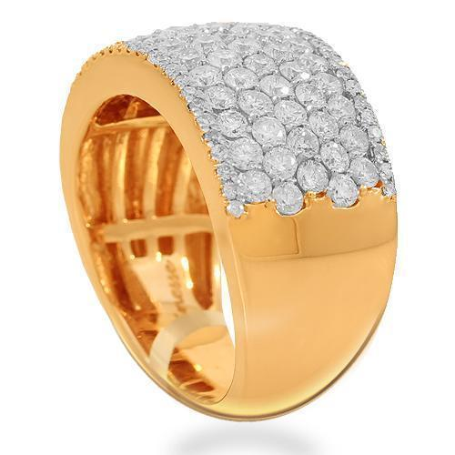 14K Solid Rose Gold Womens Diamond Cocktail Ring 2.29 Ctw