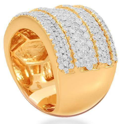 14K Solid Rose Gold Womens Diamond Cocktail Ring 2.41 Ctw
