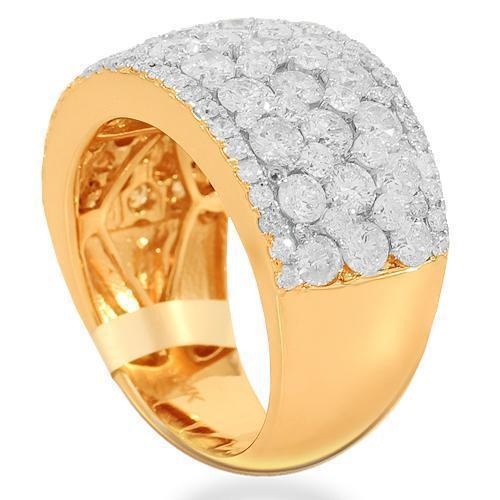 14K Solid Rose Gold Womens Diamond Cocktail Ring 3.68 Ctw
