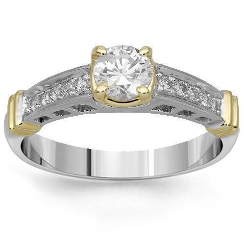 14K Solid Two Tone Gold Diamond Engagement Ring 0.70 Ctw