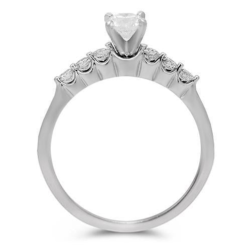 14K Solid White Gold Diamond Bridal Ring Set 0.95 Ctw