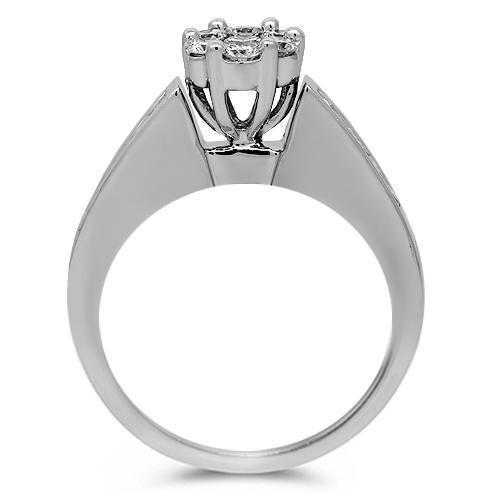 14K Solid White Gold Diamond Bridal Ring Set 1.25 Ctw