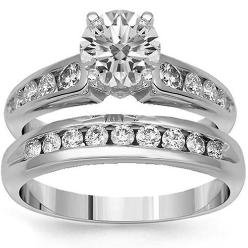 14K Solid White Gold Diamond Bridal Ring Set 1.81 Ctw