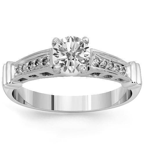 14K Solid White Gold Diamond Engagement Ring 0.65 Ctw