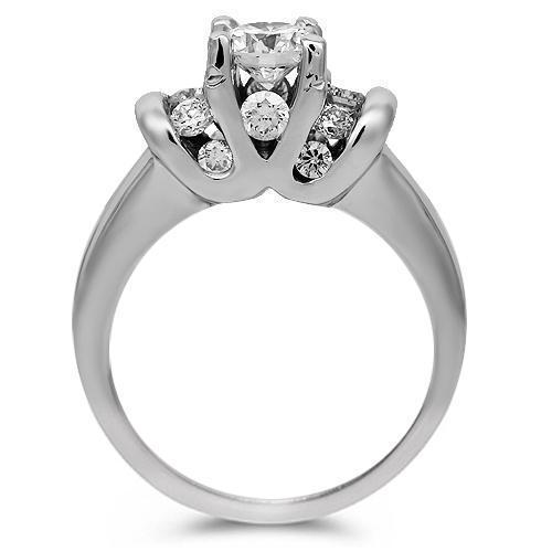 14K Solid White Gold Diamond Engagement Ring 0.71 Ctw