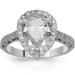 14K Solid White Gold Diamond Engagement Ring 0.79 Ctw