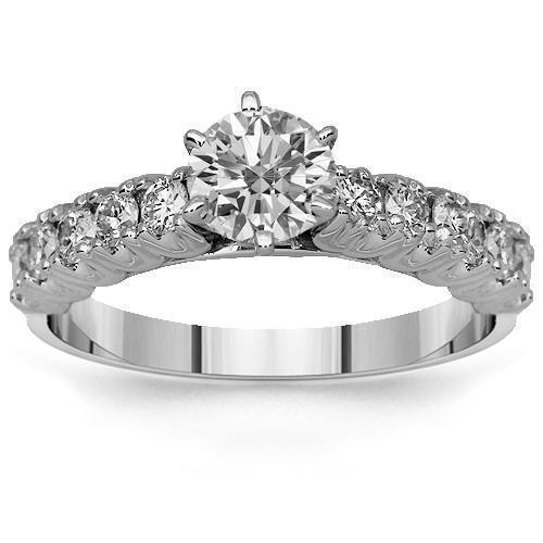 14K Solid White Gold Diamond Engagement Ring 1.08 Ctw