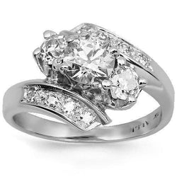 14K Solid White Gold Diamond Engagement Ring 1.16 Ctw