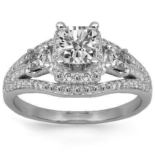 14K Solid White Gold Diamond Engagement Ring 1.46 Ctw