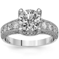 14K Solid White Gold Diamond Engagement Ring 1.67 Ctw