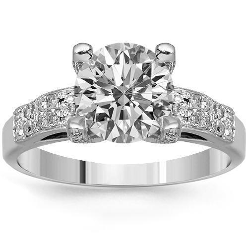 14K Solid White Gold Diamond Engagement Ring 2.08 Ctw