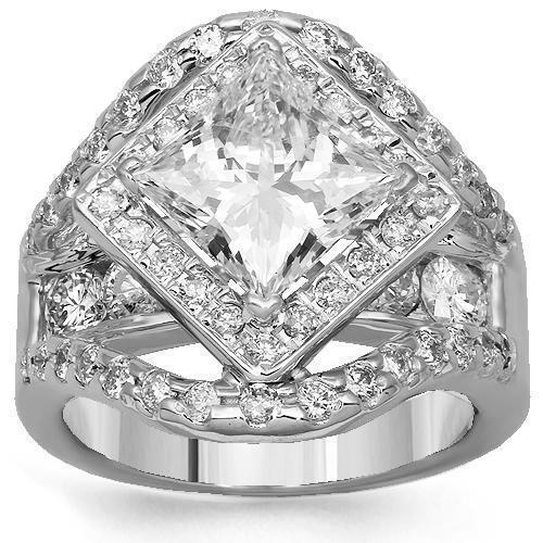 14K Solid White Gold Diamond Engagement Ring 4.87 Ctw