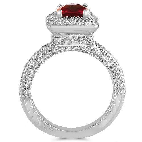 14K Solid White Gold Diamond Ring With Red Ruby Gemstone 2.00 Ctw