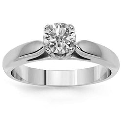 14K Solid White Gold Diamond Solitaire Engagement Ring 0.54 Ctw