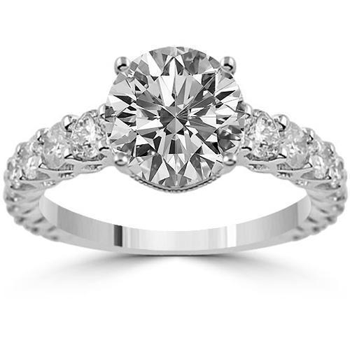 14K Solid White Gold Diamond Solitare Ring With Side Accents 3.39 Ctw