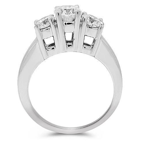 14K Solid White Gold Diamond Three Stone Engagement Ring  1.01 Ctw