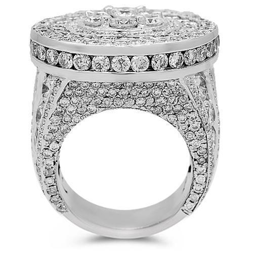 14K Solid White Gold Mens Diamond Pinky Ring 15.90 Ctw